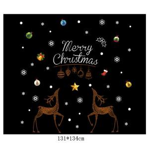 Removable Merry Christmas DIY Wall Stickers Glass Showcase Decor - COLORMIX