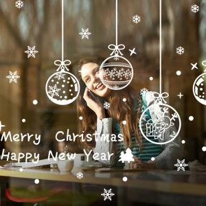 Merry Christmas Snowflake Pendants DIY Wall Stickers Window Decor - White