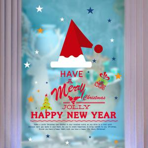Christmas New Year DIY Home Decoration Waterprof Festival Wall Stickers - COLORFUL