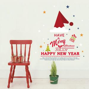 Christmas New Year DIY Home Decoration Waterprof Festival Wall Stickers - Colorful - S