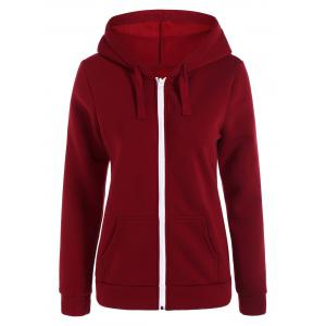 Zip-Up Pockets Hoodie - Burgundy - S