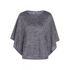 Bat-Wing Sleeve Loose Tie-Dyed Blouse - Gray - S