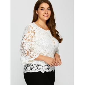 Plus Size Bell Sleeve Sheer Lace Blouse -