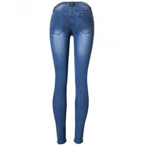 Broken Hole Stretchy Jeans - BLUE 44