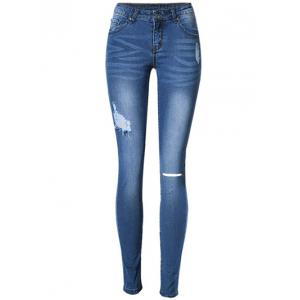 Broken Hole Stretchy Jeans - Blue - 40