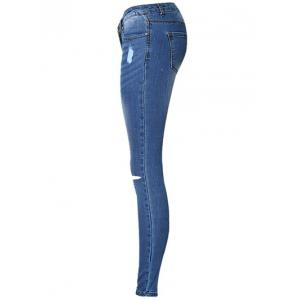 Broken Hole Stretchy Jeans - BLUE 38