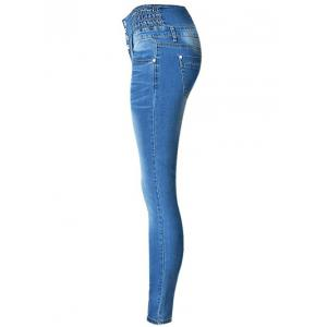 High Waist Buttoned Stretchy Jeans -