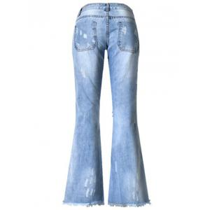 Broken Hole with Pockets Buttoned Jeans -