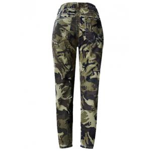 Camo Print Broken Hole Jeans - CAMOUFLAGE COLOR 44