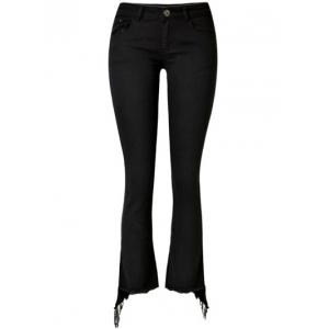 Stretchy Asymmetrical Slimming Jeans - Black - S