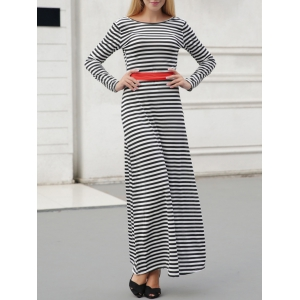 Striped Long Sleeve Backless Maxi Casual Dress