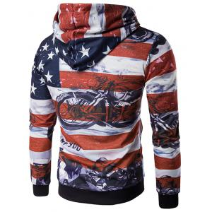 USA Flag Star Motorcycle Printed Long Sleeve Hoodie - RED 2XL