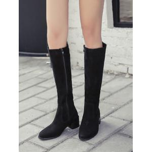 Zip Up Knee High Chunky Heel Boots - BLACK 39