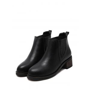 PU Leather Chunky Heel Ankle Boots - BLACK 38