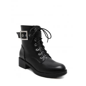 Eyelet Buckle Strap Chunky Heel Combat Boots