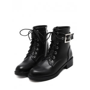 Eyelet Buckle Strap Chunky Heel Combat Boots - BLACK 38