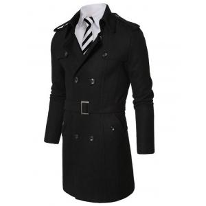 Double Breasted Epaulet Adorn Wool Coat