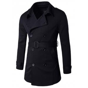 Epaulet Embellished Lapel Collar Double Breasted Coat