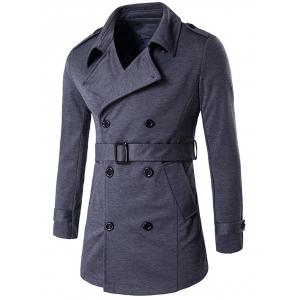 Epaulet Embellished Lapel Collar Double Breasted Coat - Deep Gray - M
