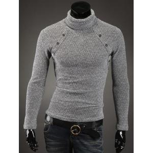 Button Embellished Turtleneck Sweater - White - Xl