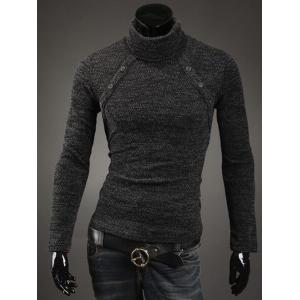Button Embellished Turtleneck Sweater