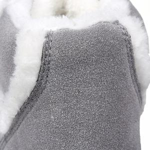 Suede Fuzzy Ankle Boots - GRAY 43