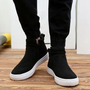 Casual Double Zips Suede Boots - BLACK 41