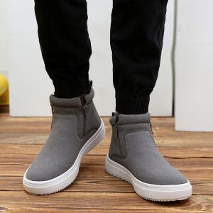Casual Bottes Double Zips Suede - Gris 43