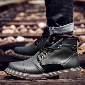 Suede Insert Leather Short Boots - BLACK 43