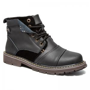 Suede Insert Leather Short Boots
