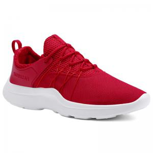 Lace Up Mesh Athletic Shoes - Red - 42