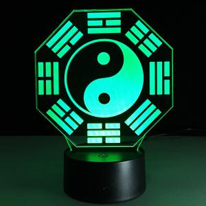 7 Color Changing 3D Bulbing Light Diagrams Pictures Night Light - White And Black