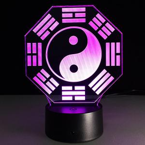 7 Color Changing 3D Bulbing Light Diagrams Pictures Night Light - WHITE/BLACK