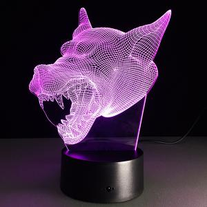7 Color Changing 3D Bulbing Light Werewolf Pictures Night Light -