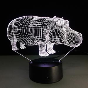 7 Color Changing 3D Hippo Night Light - TRANSPARENT