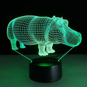 7 Color Changing 3D Hippo Night Light -