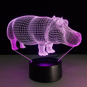 7 Color Changing 3D Hippo Night Light