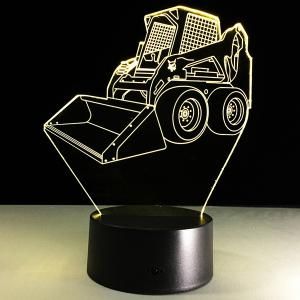 7 Color Touch Changing 3D Bulldozer Night Light - TRANSPARENT