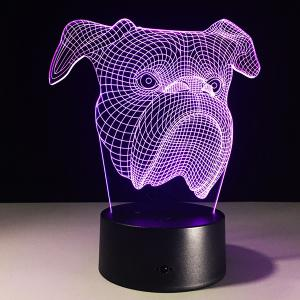 7 Color Touch Changing 3D Dog Head Night Light - TRANSPARENT