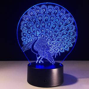 7 Color Touch Changing 3D Peacock Night Light - TRANSPARENT