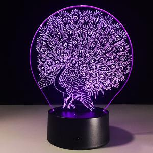 7 Color Touch Changing 3D Peacock Night Light
