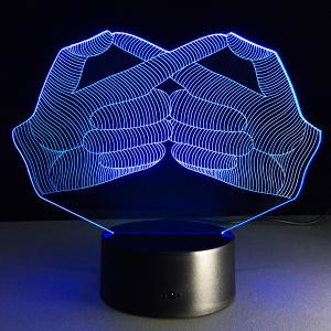 7 Color Touch Changing 3D Gesture Night Light - TRANSPARENT