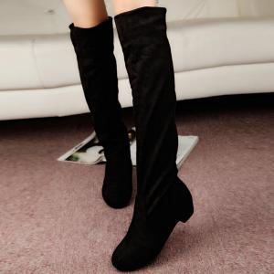 Suede Low Heel Thigh Boots - Black - 39
