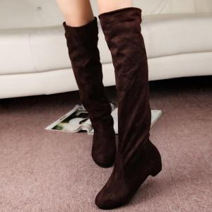 Suede Low Heel Thigh Boots - Brown - 38