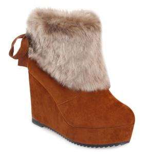 Faux Fur Wedge Heel Boots