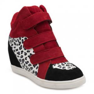Leopard Printed Hidden Wedge Boots - RED 39