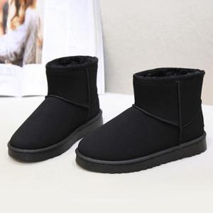 Suede Ankle Snow Boots - BLACK 37