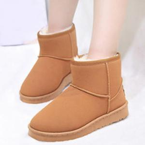 Suede Ankle Snow Boots - Brown - 37