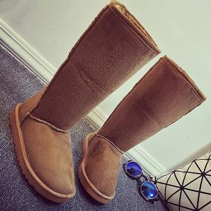Suede Mid Calf Snow Boots - LIGHT BROWN 40