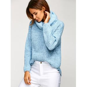Cowl Neck Oversized Pullover Sweater - BLUE ONE SIZE